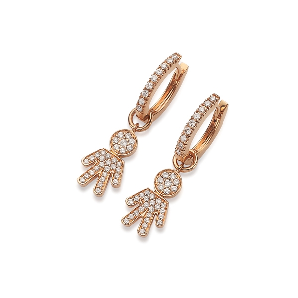 Bimbo earrings pink gold and brilliants | Easy - by Crivelli