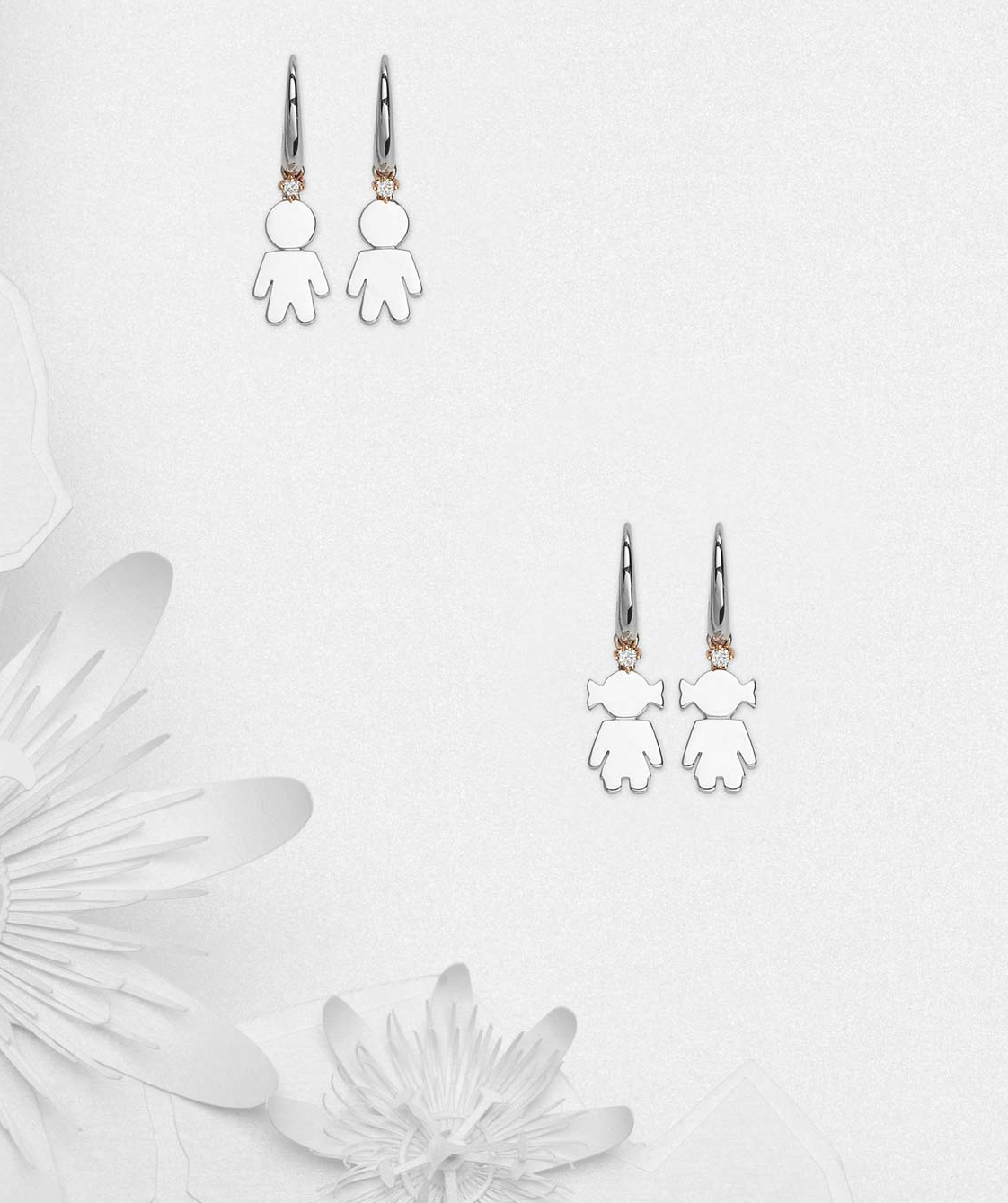Bimbo Bimba earrings silver and brilliant | Easy - by Crivelli