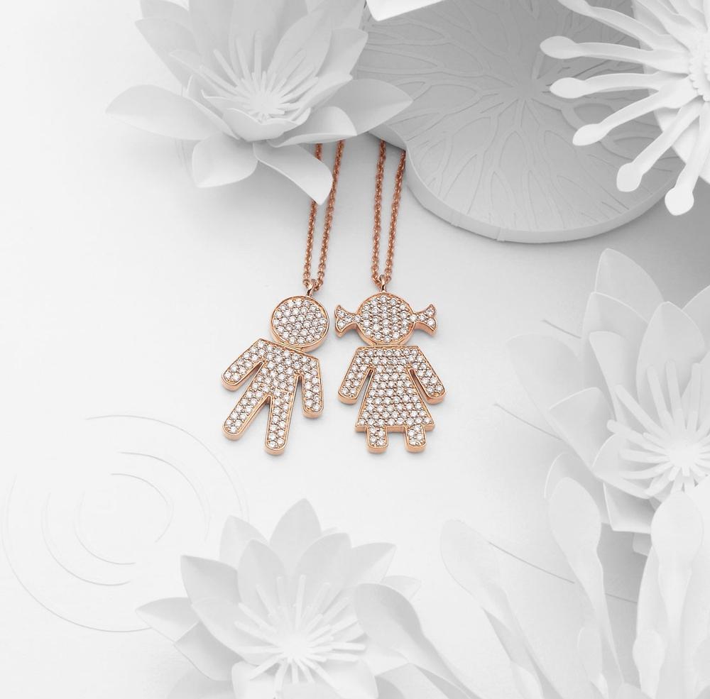 Bimbo Bimba pendants pink gold and brilliants | Easy - by Crivelli