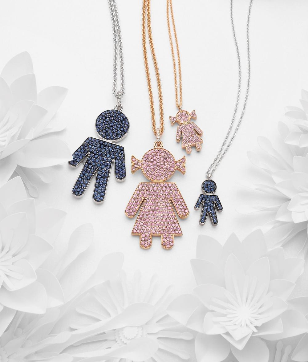 Bimbo Bimba pendants gold and sapphire | Easy - by Crivelli