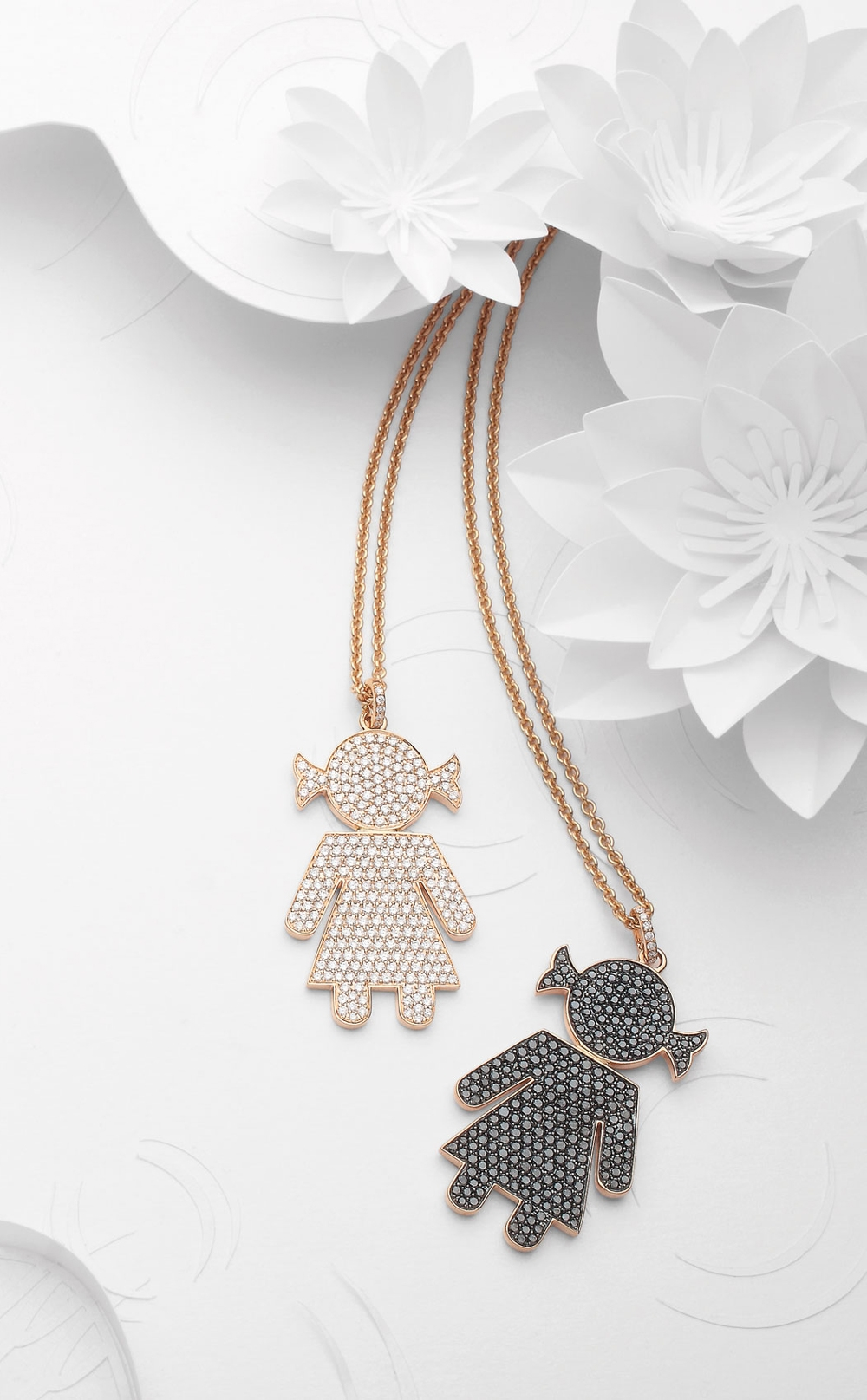 Bimba pendants pink gold and brilliants | Easy - by Crivelli