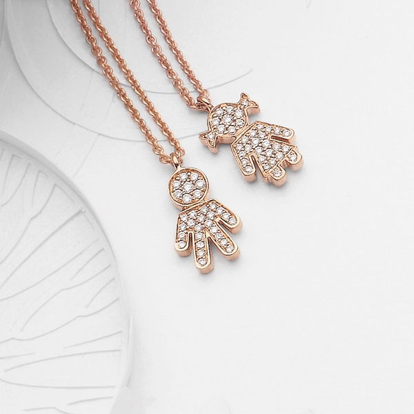 Bimbo Bimba pendants pink gold and brilliants | Easy - by Crivelli