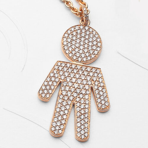 Bimbo pendant pink gold and brilliants | Easy - by Crivelli