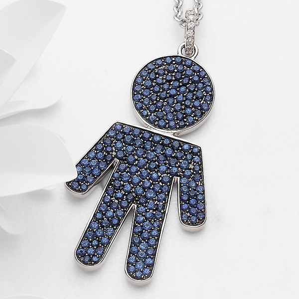 Bimbo pendant white gold and sapphire | Easy - by Crivelli