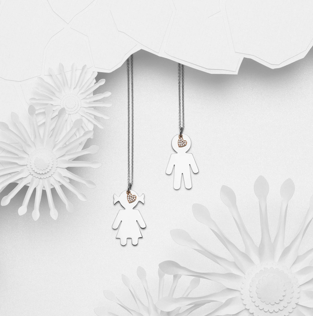 Bimbo Bimba pendants silver and brilliants | Easy - by Crivelli