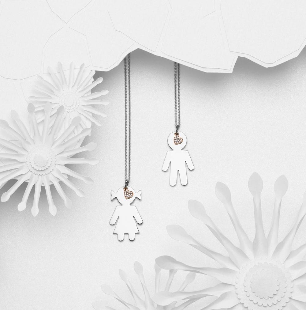 Bimbo Bimba pendants silver and brilliants | Easy - by Crivelli