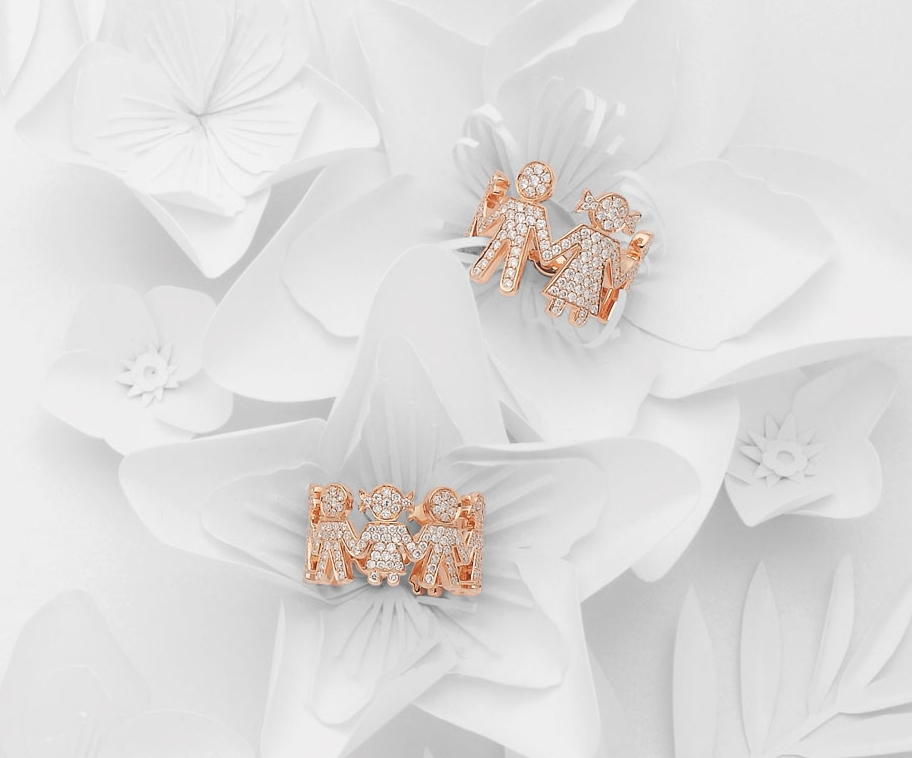 Bimbi rings pink gold and brilliants | Easy - by Crivelli