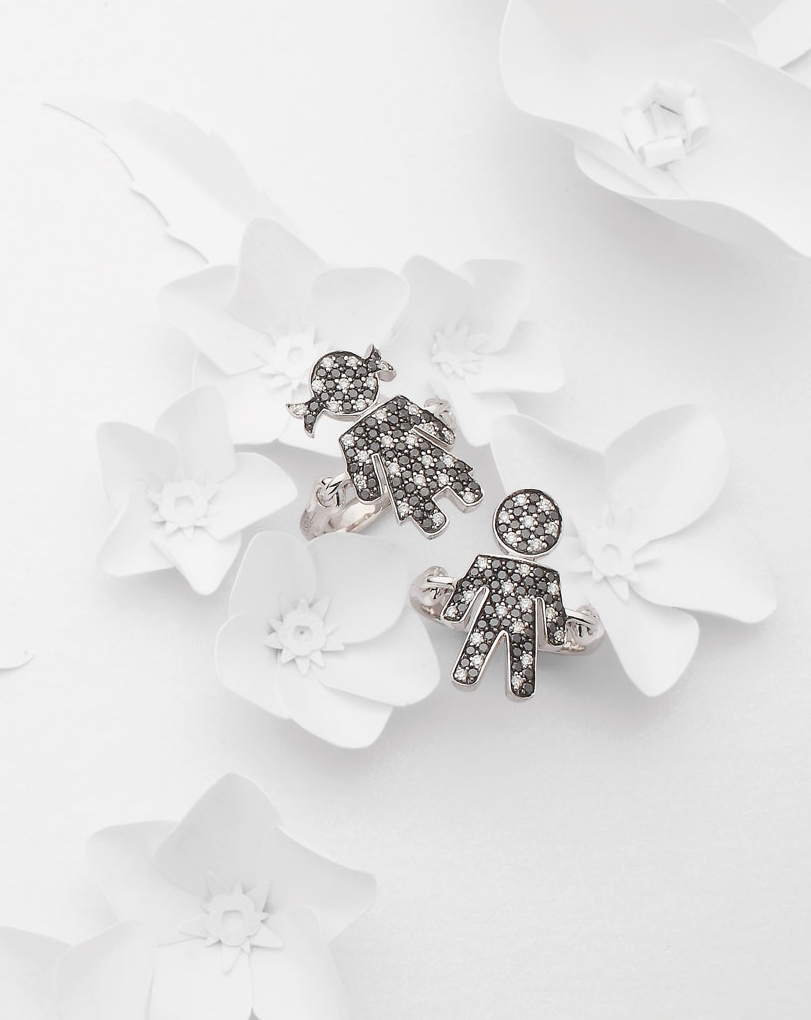 Bimbo Bimba rings white gold and brilliants | Easy - by Crivelli