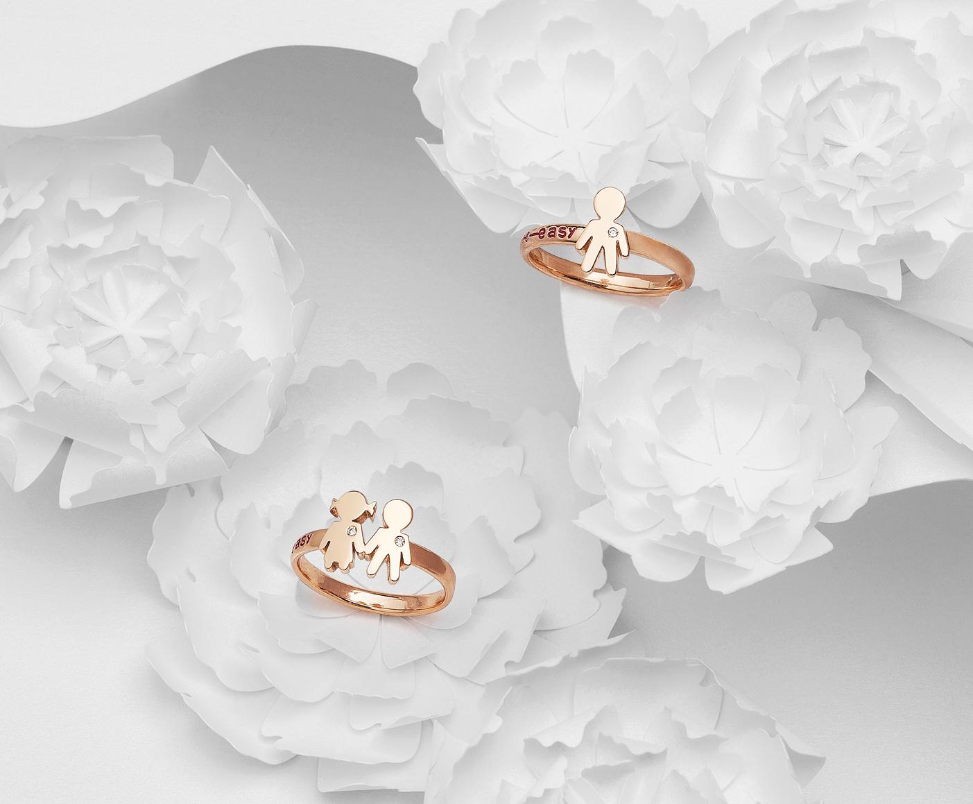 Bimbo Bimbi rings pink gold and brilliants | Easy - by Crivelli