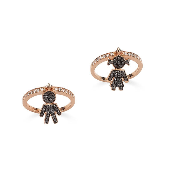 Bimbo Bimba rings pink gold and brilliants | Easy - by Crivelli