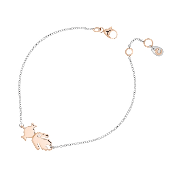White gold bracelet Bimba pink gold and brilliant | Easy - by Crivelli