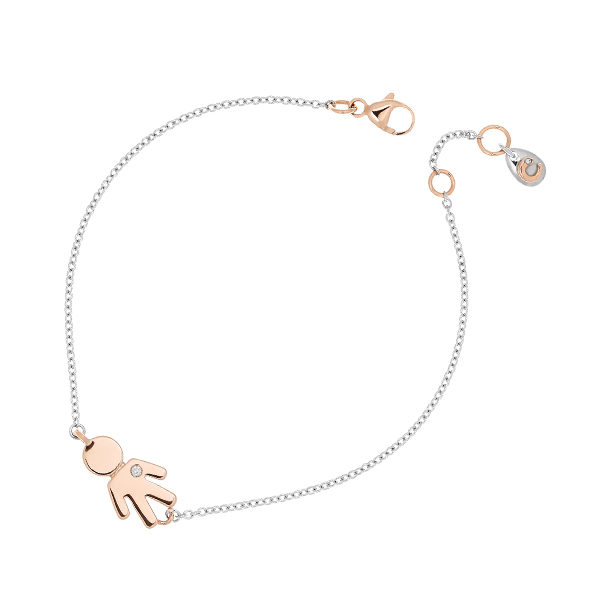 White gold bracelet Bimbo pink gold and brilliant | Easy - by Crivelli