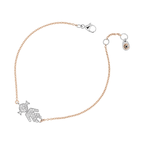 Pink gold bracelet Bimba white gold and brilliants | Easy - by Crivelli