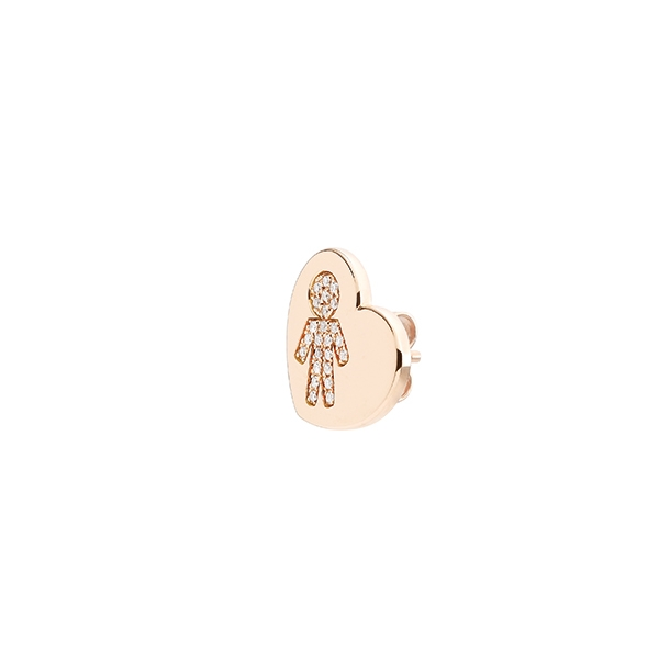 Heart earrings Bimbo pink gold and brilliants | Easy - by Crivelli