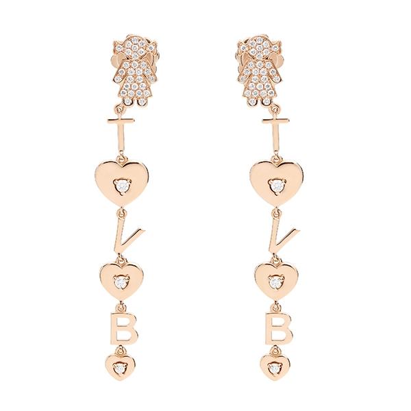 Orecchini pendenti Bimba oro rosa e brillanti | Easy - Un marchio Crivelli