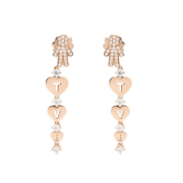 Orecchini pendenti Bimbo oro rosa e brillanti | Easy - Un marchio Crivelli