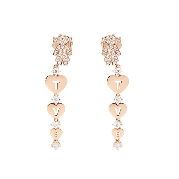 Orecchini pendenti Bimba oro rosa e brillanti   Easy - Un marchio Crivelli