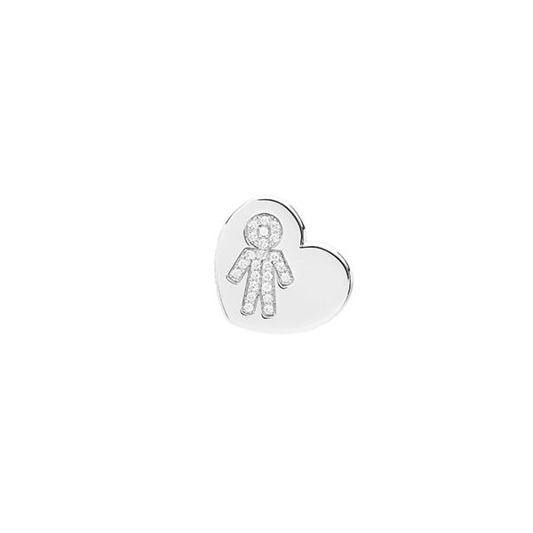 Orecchini cuore Bimbo oro bianco e brillanti | Easy - Un marchio Crivelli