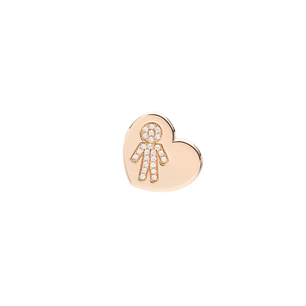 Orecchini cuore Bimbo oro rosa e brillanti | Easy - Un marchio Crivelli