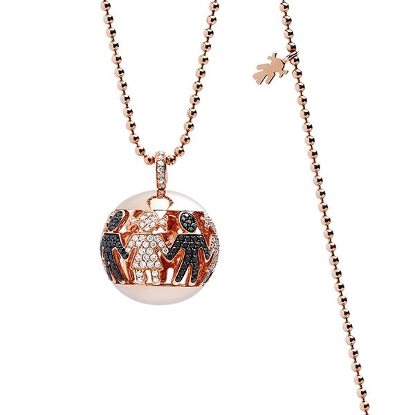 Collana Boule oro rosa e brillanti | Easy - Un marchio Crivelli