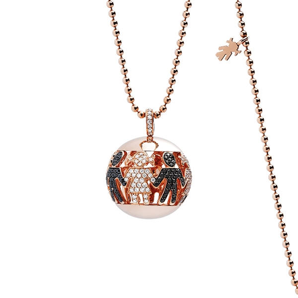 Boule necklace pink gold and brilliants | Easy - by Crivelli