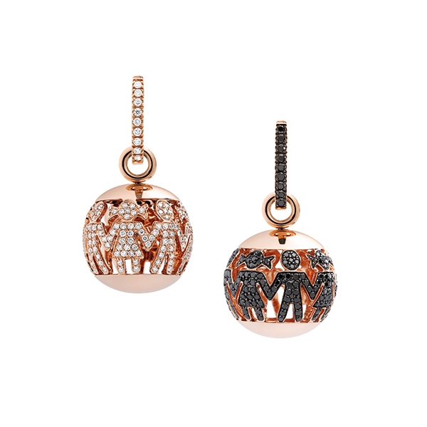 Boule necklaces pink gold and brilliants | Easy - by Crivelli