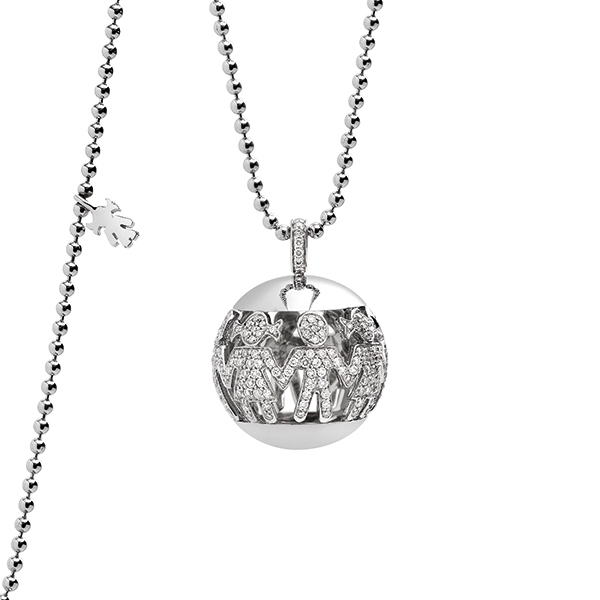Boule necklace white gold and brilliants | Easy - by Crivelli