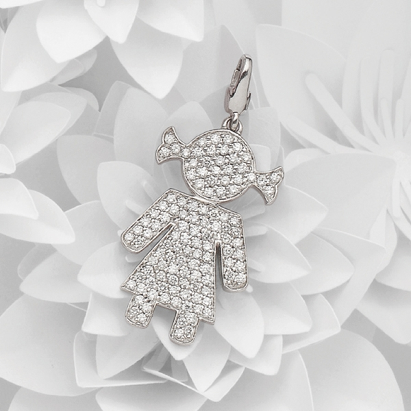 Bimba charm white gold and brilliants | Easy - by Crivelli