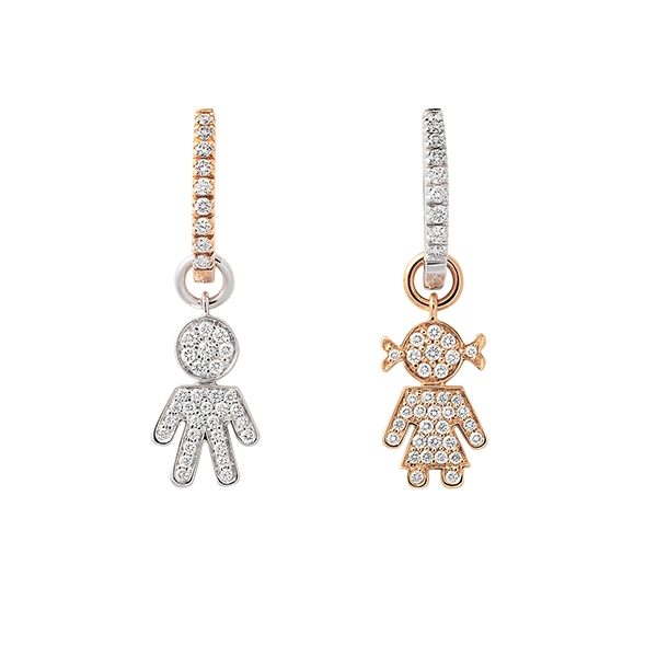 Bimba Bimbo earrings gold and brilliants | Easy - by Crivelli