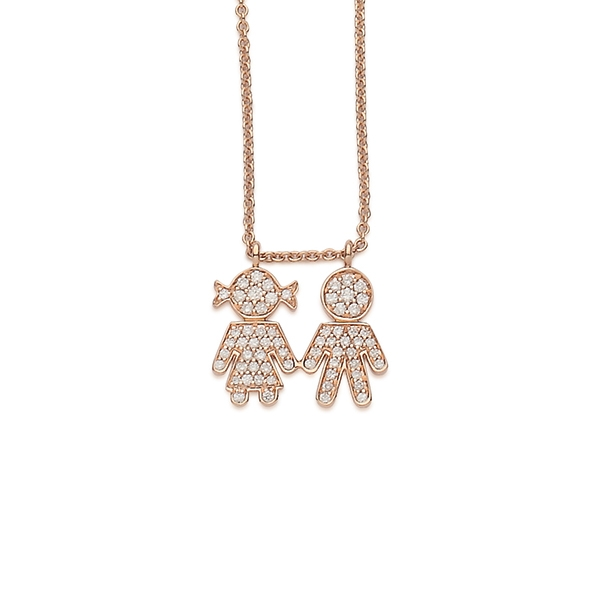 Bimbo Bimba necklaces pink gold and brilliants | Easy - by Crivelli