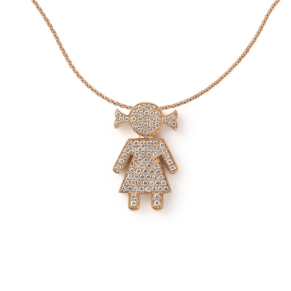 Bimba necklace pink gold and brilliants | Easy - by Crivelli