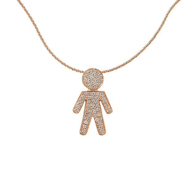 Bimbo necklace pink gold and brilliants | Easy - by Crivelli