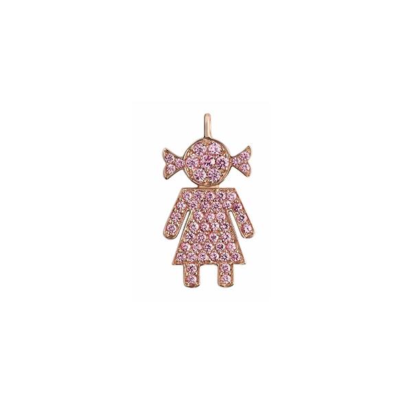 Ciondolo Bimba oro rosa e zaffiri rosa | Easy - Un marchio Crivelli
