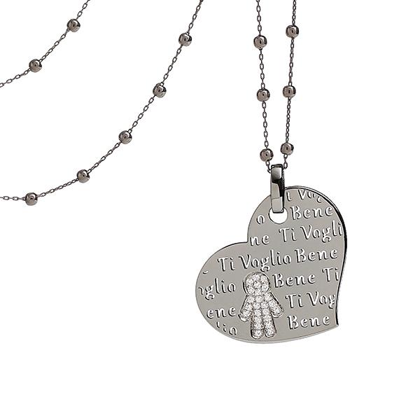 Collana cuore Bimbo oro brunito e brillanti | Easy - Un marchio Crivelli