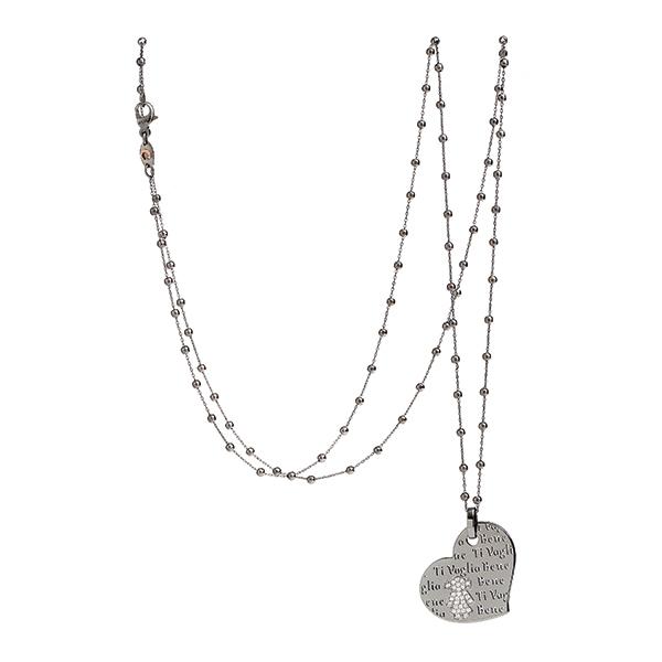 Collana cuore Bimba oro brunito e brillanti | Easy - Un marchio Crivelli