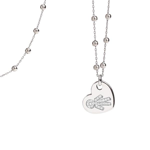 Collana cuore Bimbo oro bianco e brillanti | Easy - Un marchio Crivelli