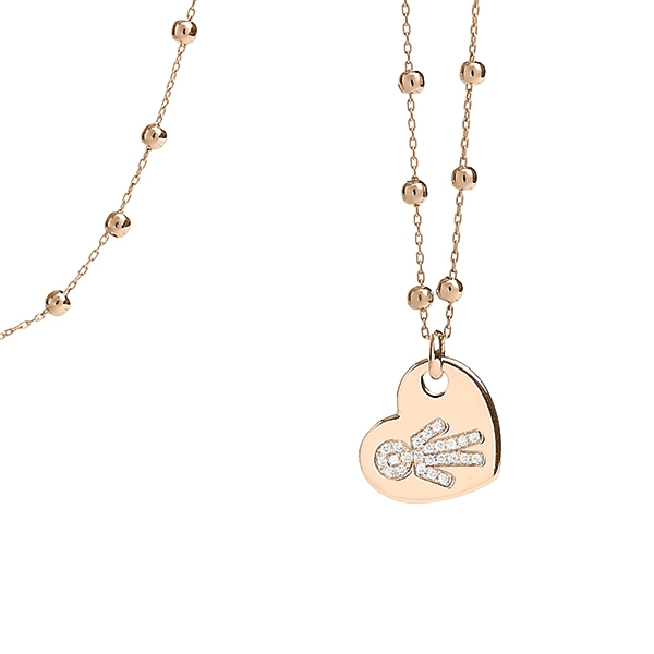 Necklace heart Bimbo pink gold and brilliants | Easy - by Crivelli