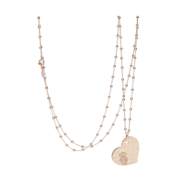 Necklace heart Bimba pink gold and brilliants | Easy - by Crivelli