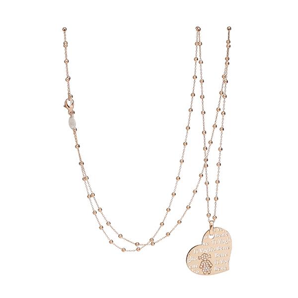 Collana cuore Bimba oro rosa e brillanti | Easy - Un marchio Crivelli