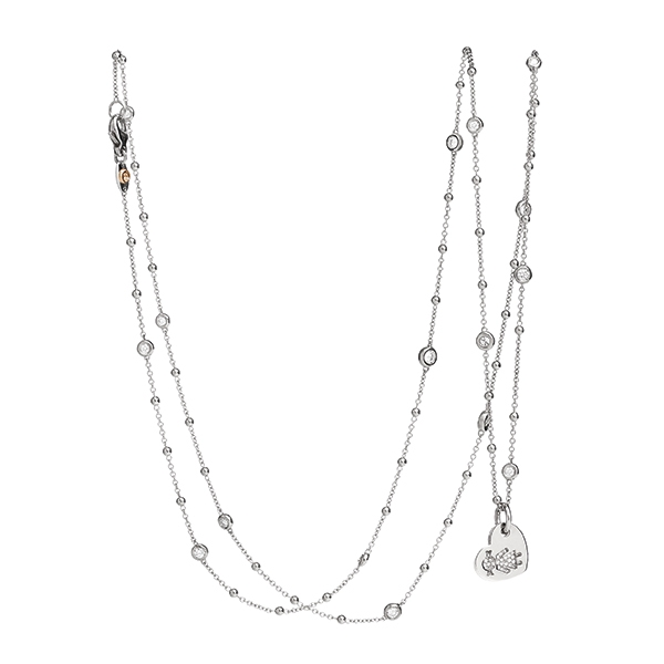 Necklace hearts Bimba white gold and brilliants | Easy - by Crivelli