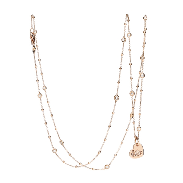 Necklace hearts Bimba pink gold and brilliants | Easy - by Crivelli