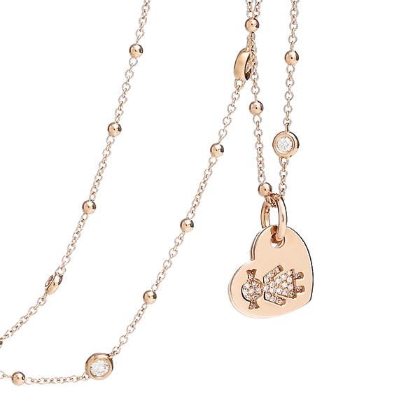 Collana cuori Bimba oro rosa e brillanti | Easy - Un marchio Crivelli