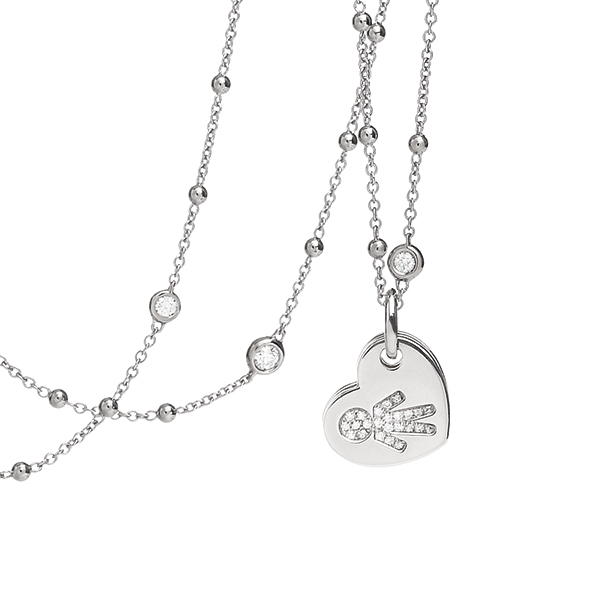 Necklace hearts Bimbo white gold and brilliants | Easy - by Crivelli