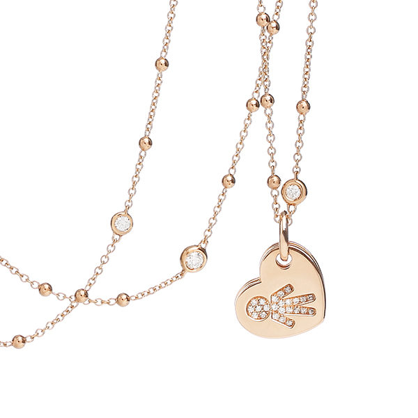 Necklace hearts Bimbo pink gold and brilliants | Easy - by Crivelli